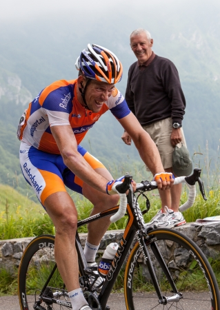 Beost,France,July 15th 2011: Image of the cyclist Maarten Tjallingii (Rabobank team),climbing the last kilometers of the category H mountain pass Abisque, during the 13th stage of Le Tour de France 2011.