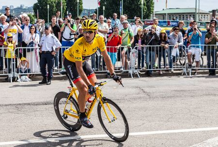 Rouen,France, July 5th 2012: The Swiss cyclist,Fabian Cancellara (Radioshak-Nissan team), wearing the Yellow Jersey riding to the start line in Rouen, France, during the stage 5 of Le Tour de France 2012.He is nicknamed Spartacus and weared the yellow in