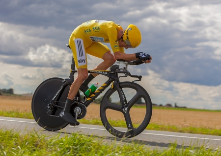 Cycling  race: Beaurouvre,France, July 27 2012:Image of the winner of the