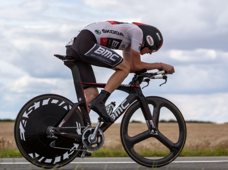 bicyclists: Beaurouvre,France, July 27 2012:Image of the American cyclist Van Garderen Tejay (  BMC Racing Team) wearing The White Jersey ( the best young rider) during the 19th stage- a time trial  between Bonneval and Chartres- of