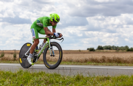 Beaurouvre,France, July 27 2012:Image of the Italian cyclist Sagan Peter (Liquigas-Cannondale team) wearing The Green Jersey ( the best sprinter) during the 19th stage- a time trial  between Bonneval and Chartres- of