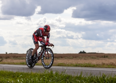 Beaurouvre,France,21st 2012:The Australian cyclist Evans Cadel from BMC Racing Team pedaling during the 19th stage of Le Tour de France 2012- a time trial  between Bonneval and Chartres.Cadel was the winner of the 2011 edition of the competition but in 20