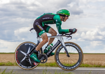 Beaurouvre, France, July 21st 2012:The French Cyclist Rolland Pierre from Team Europcar pedaling during the 19th stage of Le Tour de France 2012, a time trial  between Bonneval and Chartres. Rolland was on the best French cyclist in the end of the competi