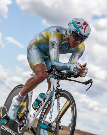 Beaurouvre,France,21st 2012:The Kazakh cyclist Fofonov Dmitriy from Astana Pro Team pedaling during the 19th stage of Le Tour de France 2012- a time trial  between Bonneval and Chartres.