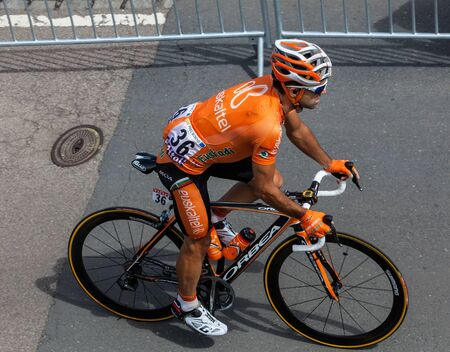 Rouen,France,July 5th, 2011: Upper view of the Spanish cyclist Perez Moreno Ruben (Euskaltel-Euskadi Team) riding to the start line of the stage 5 of Le Tour de France in Rouen.