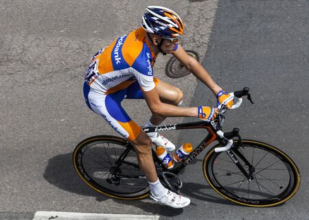 Rouen,France,July 5th, 2011: Upper view of the Dutch cyclist Gesink Robert (Rabobank Cycling Team) riding to the start line of the stage 5 of Le Tour de France 2012 in Rouen.