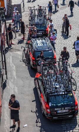proffessional: Rouen,France- July 5th, 2012: The cars fo BMC proffessional road cycling team just before the start of the 5th stage of Le Tour de France 2012 in Rouen,Normandy.