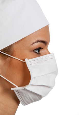 Profile of a young woman surgeon wearing a mask. photo