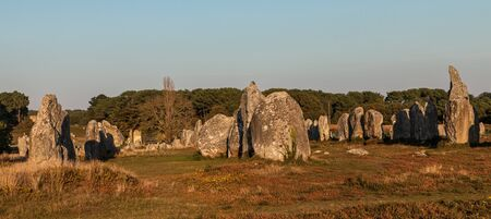 alignments: Image at the dusk of megalithic monuments menhirs in Carnac , Brittany in nortwest of France. This formation is a part of Menec Alignments.