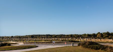 alignments: Panoramic view of the Menec Alignments near the roads in Carnac area in Brittany in north-western France Stock Photo