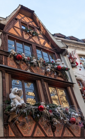 Strasbourg,France- December 28 2011: Traditional house in Strasbourg specifically decorated during the winter holidays season.