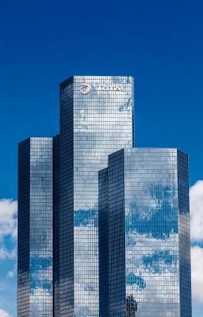 la defense: Paris,France,April 19th, 2012: Blue skyscrapers ( Total Towers) in La Defense, the main business district of Paris. Editorial