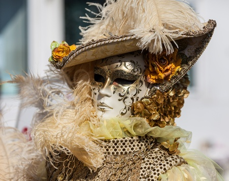 Venice,Italy,February 26th 2011:Portrait of a person wearing a characteristic masks during the Carnival of Venice days.