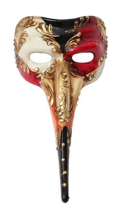 Upper view image of a colorful long nose Venetian mask against a white background. photo