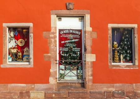 christma: Strasbourg,France- December 12, 2012: Detail of shop windows specifically decorated for Christmas in Strasbourg. Editorial