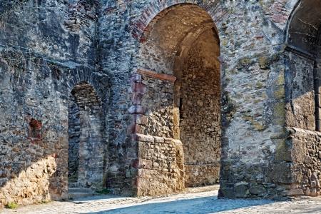 the citadel: Dettagli l'ingresso principale nella fortezza della Transilvania Sighisoara, Romania.Sighisoara � un bellissimo e ben conservato cittadella abitata in Europa, con un'architettura autentica medievale.