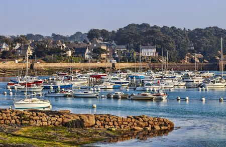 vicinity: Port of yachts in Brittany  Ploumanach  in vicinity of the Pink Granite Coast in north-west of France  Stock Photo