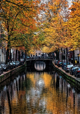 Image of a canal in Amsterdam with beautiful fall trees water reflections. Stock Photo