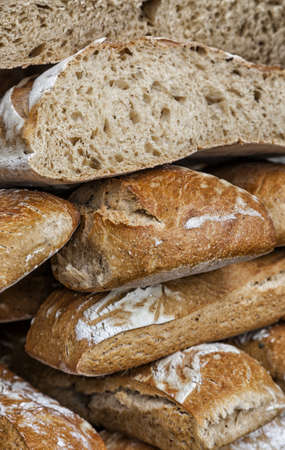 bakery products: Close-up image of a stack of fresh French campaign breads
