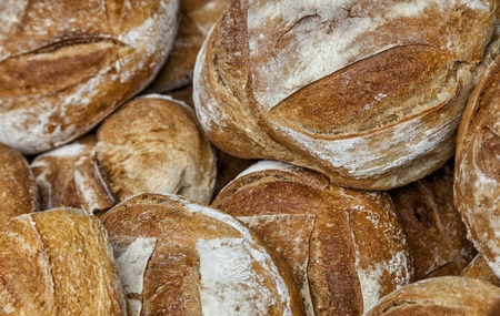 boulangerie: Close-up image of a heap of fresh French campaign breads Stock Photo