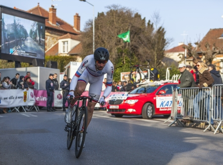 Houilles, France- March 3rd 2013: The Russian cyclist Denis Menchov from Katusha Team , riding during the prologue of the cycling road race Paris- Nice 2013 in Houilles on March 3rd 2013.