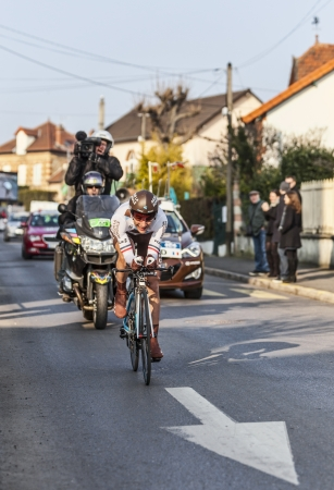 Houilles, France- March 3rd 2013: The French cyclist Jean-Christophe Péraud from AG2R La Mondiale Team, riding during the prologue of the cycling road race Paris- Nice 2013 in Houilles on March 3rd 2013.