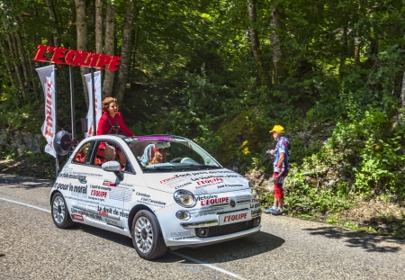 Col du Granier,France-July 13th, 2012: The car of the L