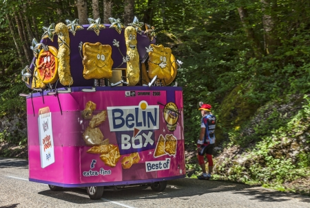 Col du Granier,France-July 13th, 2012: The car of the Belin Box during the passing of the Publicity Caravan on the category I climbing route to mountain pass Granier, in the 12 stage of the 2012 edition of Le Tour de France, the biggest cycling race in th