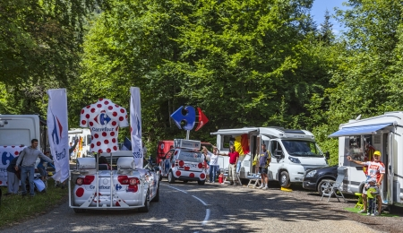 wor: Col du Granier,France-July 13th, 2012: Carrefour trucks during the passing of the advertising caravan on the category H climbing route to mountain pass Abisque in the 13th stage of the 2011 edition of Le Tour de France, the biggest cycling race in the wor Editorial
