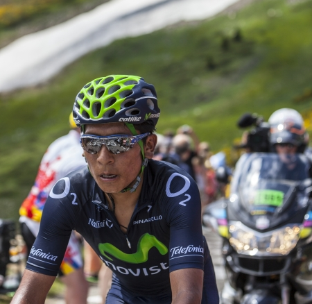 Col de Pailheres,France- July 07 2013: Environmental portrait of the Colombian cyclist Nairo Alexander Quintana Rojas from Movistar Team while climbing the road to Col de Pailheres in Pyrenees Mountains during the stage 8 of the 100 edition of Le Tour de