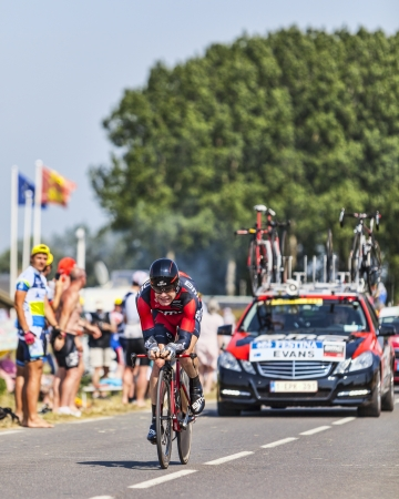 evans: Le Pont Landais,France-July 10, 2013: The Australian cyclist Cadel Evans from BMC Team cycling during the stage 11 of the edition 100 of Le Tour de France 2013, a time trial between Avranches and Mont Saint Michel.