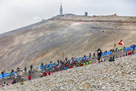 Mont Ventoux, France- July 14 2013:A part of the peloton, climbing the last kilometer of the ascension to Mont Ventoux during the stage 15 of the 100 edition of Le Tour de France 2013. Quintana finished this stage on the second position.