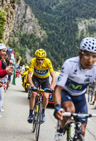 ALPE D HUEZ, FRANCE, JUL 18 Christopher Froome wearing the Yellow Jersey, following Quintana on the road to Alpe-D Huez, during the stage 18 of the edition 100 of Le Tour de France on July 18 2013