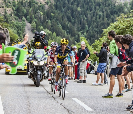 ALPE D HUEZ, FRANCE, JUL 18 Alberto Contador from Saxo-Tinkoff Team climbing the difficult road to Alpe-D Huez, during the stage 18 of the edition 100 of Le Tour de France on July 18 2013