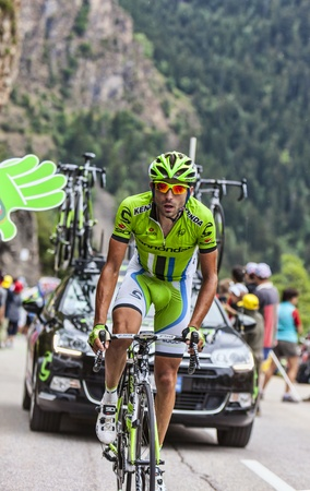ALPE D HUEZ, FRANCE, JUL 18  Moreno Moser from Cannondale Team climbing the difficult road to Alpe-D Huez, during the stage 18 of the edition 100 of Le Tour de France  on July 18 2013