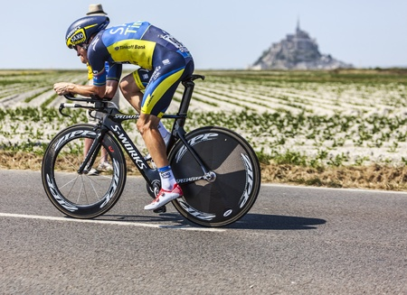 Le Pont Landais,France-July 10, 2013  The Australian cyclist Michael Rogers fromTeam Saxo-Tinkoff cycling during the stage 11 of the edition 100 of Le Tour de France 2013, a time trial between Avranches and Mont Saint Michel