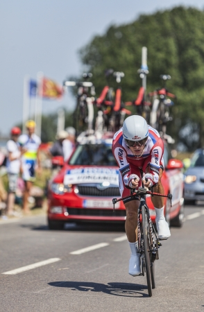 eduard: Le Pont Landais,France-July 10, 2013  The Russian cyclist Eduard Vorganov from Team Katusha cycling during the stage 11 of the edition 100 of Le Tour de France 2013, a time trial between Avranches and Mont Saint Michel
