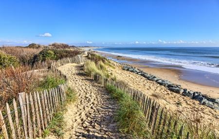 duna: Camino entre las cercas de madera en la duna del Atlántico en Bretaña, en el noroeste de Francia