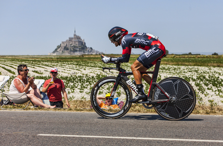 Le Pont Landais,France-July 10, 2013: The French cyclist Amaël Moinard from BMC Racing Team cycling during the stage 11 of the edition 100 of Le Tour de France 2013, a time trial between Avranches and Mont Saint Michel.