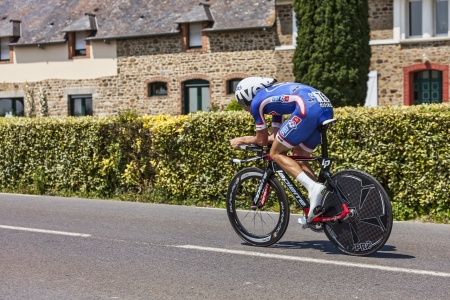 Ardevon,France-July 10, 2013: The French cyclist Alexandre Geniez from FDJ.fr Team cycling during the stage 11 of the edition 100 of Le Tour de France 2013, a time trial between Avranches and Mont Saint Michel.