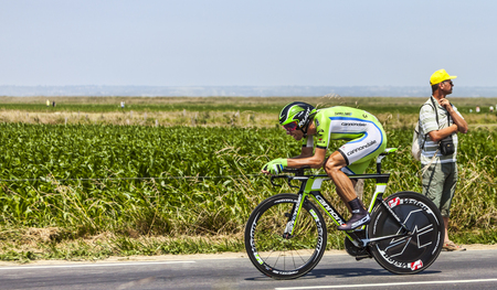 Ardevon,France-July 10, 2013  The Slovenian cyclist Kristijan Koren from Cannondale Team cycling during the stage 11 of the edition 100 of Le Tour de France 2013, a time trial between Avranches and Mont Saint Michel