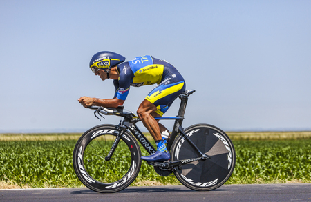 daniele: Ardevon,France-July 10, 2013  The Italian cyclist Daniele Bennati from Team Saxo-Tinkoff cycling during the stage 11 of the edition 100 of Le Tour de France 2013, a time trial between Avranches and Mont Saint Michel  Editorial