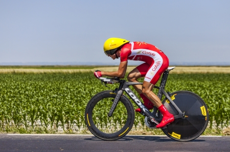 rudy: Ardevon,France-July 10, 2013  The French cyclist Rudy Molard from Team Cofidis cycling during the stage 11 of the edition 100 of Le Tour de France 2013, a time trial between Avranches and Mont Saint Michel