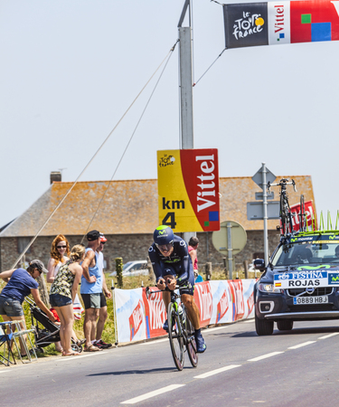 joaquin: Ardevon,France-July 10, 2013  The Spanish cyclist Jose Joaquin Rojas Gil from Movistar Team cycling during the stage 11 of the edition 100 of Le Tour de France 2013, a time trial between Avranches and Mont Saint Michel  Editorial