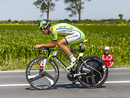 Ardevon,France-July 10, 2013  The Italian cyclist Alan Marangoni from Cannondale Team cycling during the stage 11 of the edition 100 of Le Tour de France 2013, a time trial between Avranches and Mont Saint Michel  Stok Fotoğraf - 22383950
