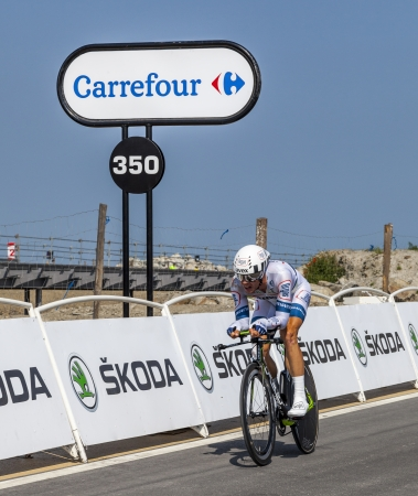 Le Mont Saint Michel,France-July 10, 2013: The Dutch cyclist Tom Veelers from Argos-Shimano Team cycling during the stage 11 of the edition 100 of Le Tour de France 2013, a time trial between Avranches and Mont Saint Michel.