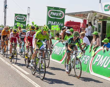 peloton: Saint Aoustrille, France-July 12,2013  Thomas Voeckler  Europcar Team  and Moreno Moser  Cannondale Team  in front of a delayed peloton at the intermediate sprint line during the stage 13 of the edition 100 of Le Tour de France 2013 in Saint-Aoustrille, F Editorial