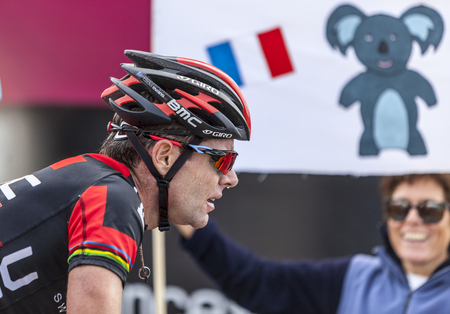 evans: Mont Ventoux, France- July 14 2013  The Australian cyclist Cadel Evans  BMC Team , climbing the last kilometer of the ascension to Mont Ventoux during the stage 15 of the 100 edition of Le Tour de France 2013