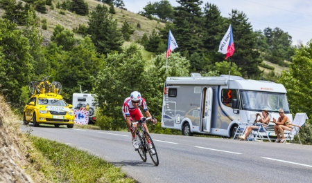 Chorges, France- July 17, 2013  The Spanish cyclist Alberto Losada Alguacil from Katusha Team pedaling during the stage 17 of 100th edition of Le Tour de France 2013, a time trial between Embrun and Chorges