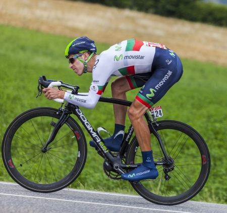 Chorges, France- July 17, 2013  The Portuguese  cyclist Rui Alberto Costa  from Movistar Team pedaling during the stage 17 of 100th edition of Le Tour de France 2013, a time trial between Embrun and Chorges Costa won in 2013 the elite men